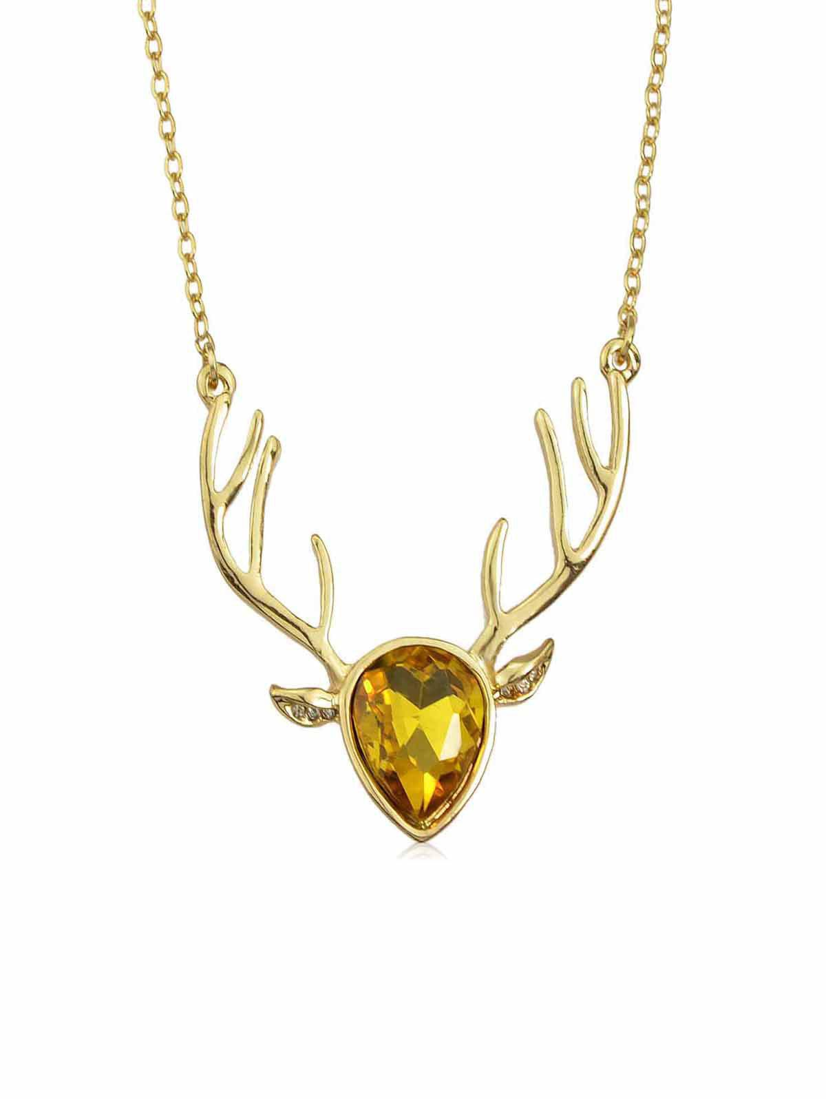 Best Rhinestone Deer Head Pendant Necklace