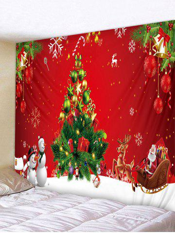 Christmas Tree Gift Snowman Pattern Tapestry - MULTI - W79 X L71 INCH