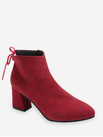 Tie Back Mid Heel Pointed Toe Ankle Boots - RED WINE - EU 36
