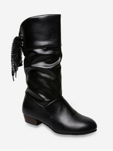 Tie Back PU Leather Mid Calf Boots