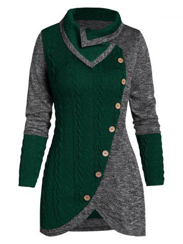 Turn-down Collar Contrast Tunic Sweater