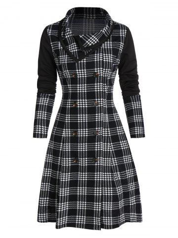 Double Breasted Houndstooth Plaid Print Skirted Coat