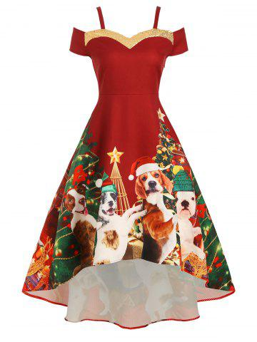 Christmas Tree Sequined Open Shoulder High Low Dress