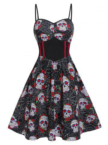 Skull Flower Print Sweetheart Neck Slip Dress