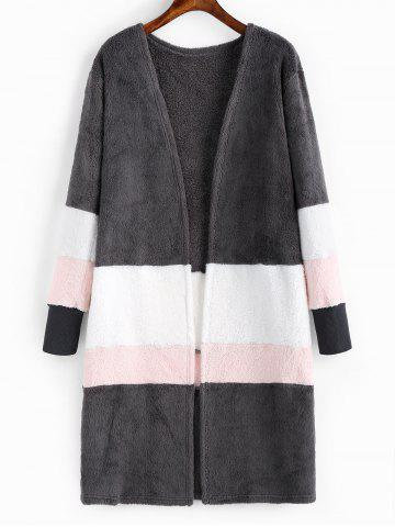 Contrast Open Front Fluffy Coat