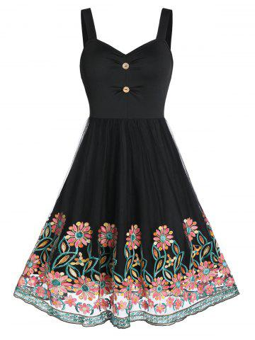 Flower Embroidered Mesh Insert Button Ruched Sleeveless Dress