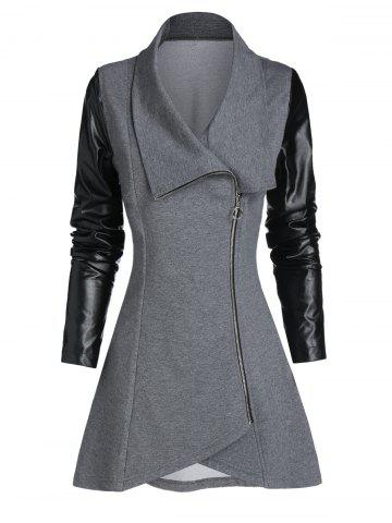 Faux Leather Sleeve Zip Up Asymmetric Coat
