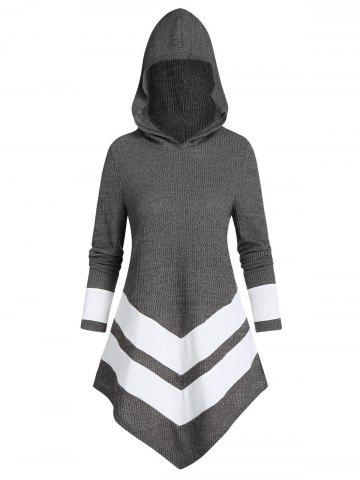 Contrast Striped Pointed Hem Hooded Ribbed Sweater