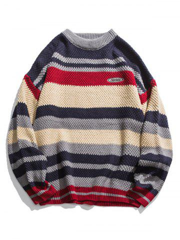Multi Color Striped Long Sleeve Pullover Sweater