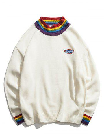 Colorful Striped Trim Long Sleeve Pullover Sweater