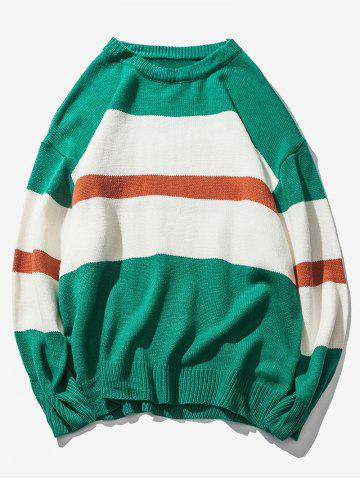 Color-blocking Stripe Trim Crew Neck Pullover Sweater