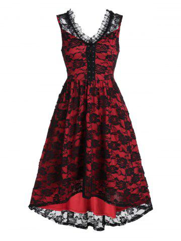 Sleeveless Lace-up Flower Lace High Low Cocktail Dress - BLACK - L