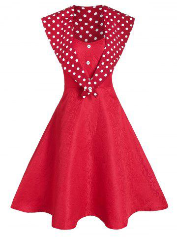 Jacquard Cami Dress With Polka Dot Capelet - RED - M