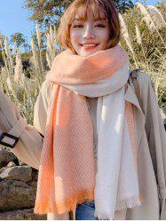 Splicing Geometric Pattern Tassel Warm Scarf -