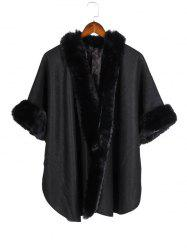 Open Front Faux Fur Poncho Cape -