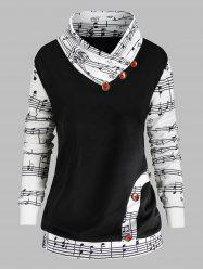 Music Note Print Plus Size Bowknot Embellished Sweatshirt -