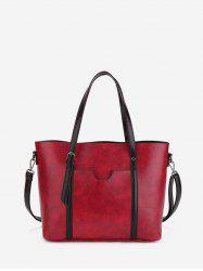 Simple Pocket Leather Tote Bag -