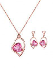 Artificial Gem Heart Necklace with Earrings -
