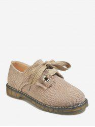 Flat Heel Lace-up Linen Cloth Casual Shoes -