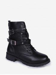 Dual Buckle Lace Up Combat Short Boots -