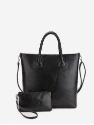 2Pcs Simple Leather Tote Bag Set -