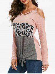 Leopard Criss Cross Open Shoulder Knotted Hem Knitwear -