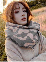 Leopard Print Faux Cashmere Rhombus Knitted Scarf -
