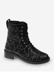 Star Studded Lace Up Ankle Boots -