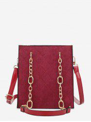 Rhombic Pattern Square Chain Shoulder Bag -