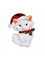 Christmas Hat Cat Rhinestone Brooch -