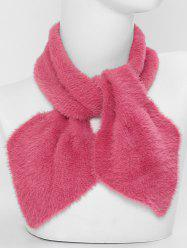 Faux Fur Winter Heart Shape Cross Scarf -