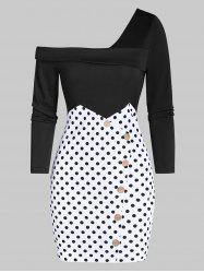 Polka Dot Skew Neck Long Sleeve Dress -