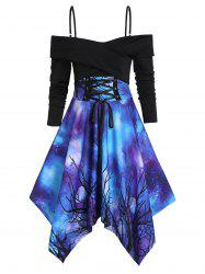 Galaxy Print Lace-up Front Open Shoulder Crossover Handkerchief Dress -