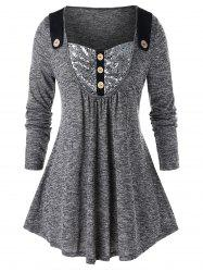 Plus Size Sequined Space Dye Mock Button Tunic Tee -