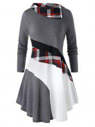Plus Size Color-blocking Plaid Long Sleeve Tunic Tee -