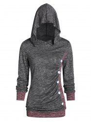 Hooded Contrast Color Marled T Shirt -