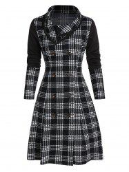 Double Breasted Houndstooth Plaid Print Skirted Coat -