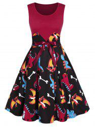 Dinosaur Printed Bowknot Patchwork A Line Dress -