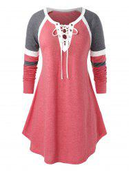 Plus Size Lace Up Long Sleeve Splicing T-Shirt -