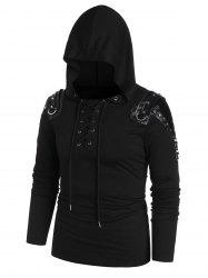 Rivet Embellished Faux Leather Insert Lace-up Front Hoodie -