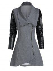 Faux Leather Sleeve Zip Up Asymmetric Coat -