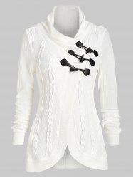 Casual Claw Button Cowl Neck Cardigan -