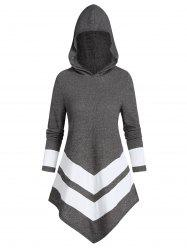Contrast Striped Pointed Hem Hooded Ribbed Sweater -