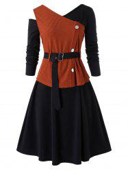 Plus Size Skew Neck A Line Dress With Belted Top Set -