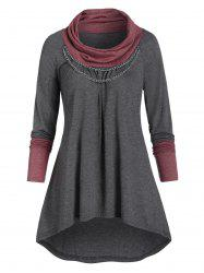 Chain Embellished Contrast Heathered High Low T-shirt -