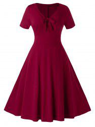 Plus Size Knotted A Line Vintage Knee Length Dress -