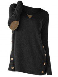 Plus Size Buttons Heathered Elbow Patch T Shirt -