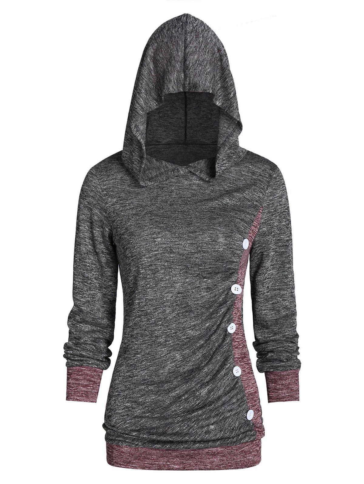 Outfits Hooded Contrast Color Marled T Shirt