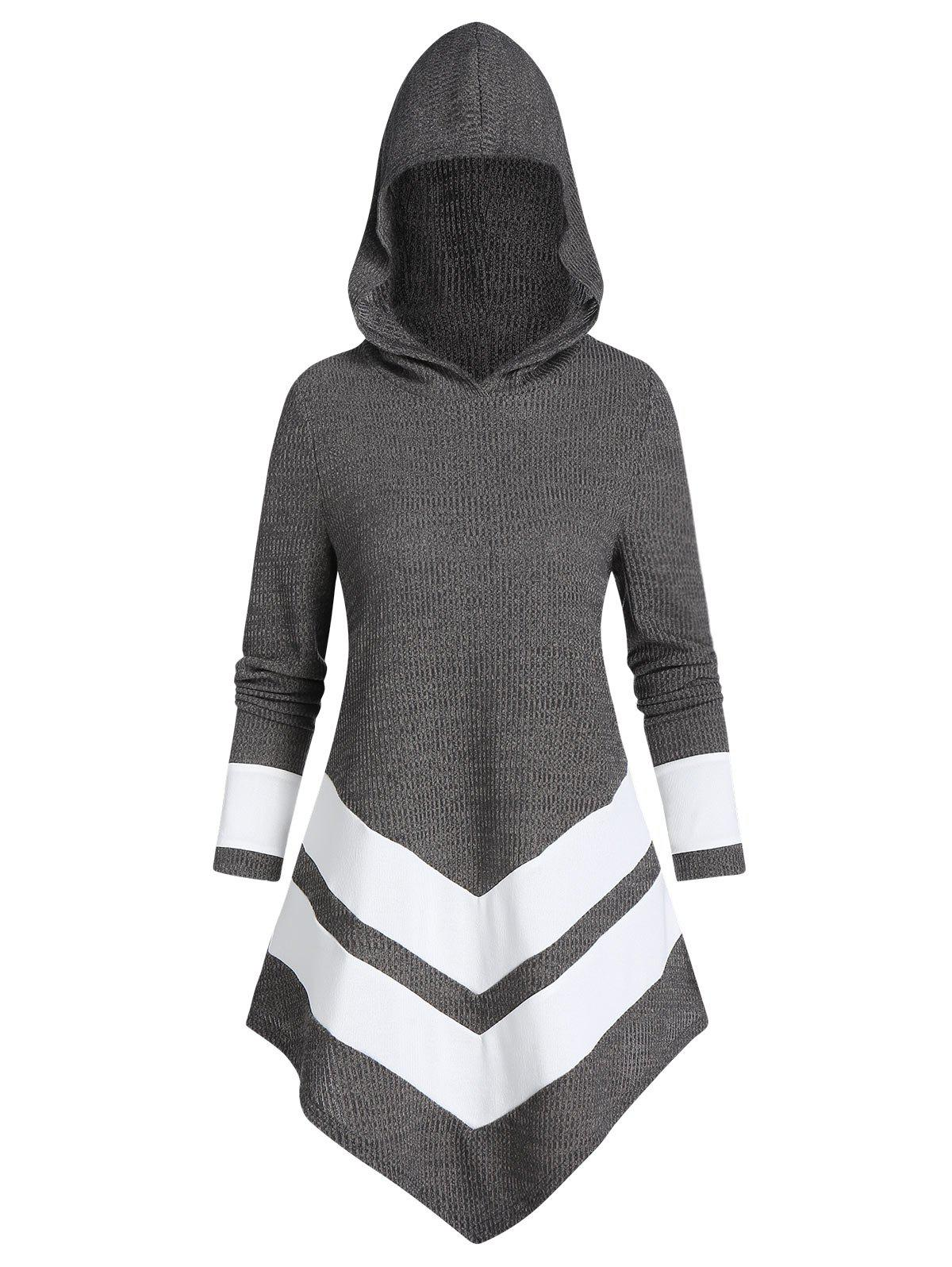Trendy Contrast Striped Pointed Hem Hooded Ribbed Sweater
