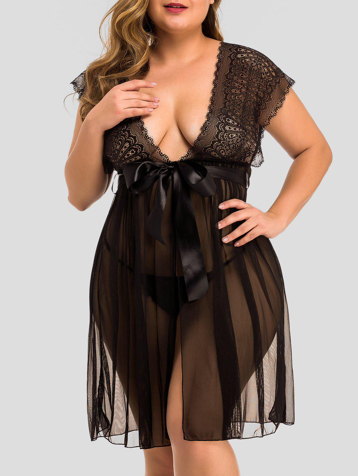 Latest Plus Size Lace Panel Slit Belted Babydoll Set